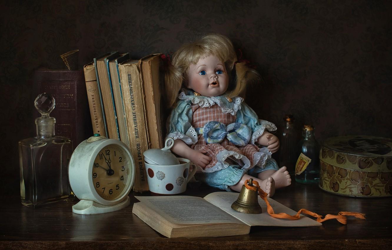 Photo wallpaper bubbles, style, watch, books, doll, alarm clock, bottle, bell