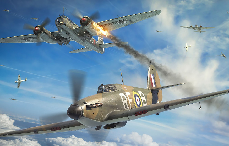 Photo wallpaper Hawker Hurricane, British single-seat fighter, Antonis (rOEN911) Karidis, RAF, No. 303 Squadron RAF
