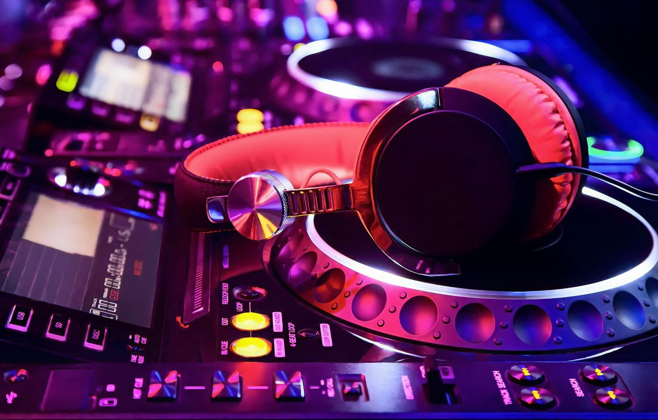 Photo wallpaper Pink, Purple, Colorful, Lights, Night, Button, Headphones, Blur, DJ Turntable