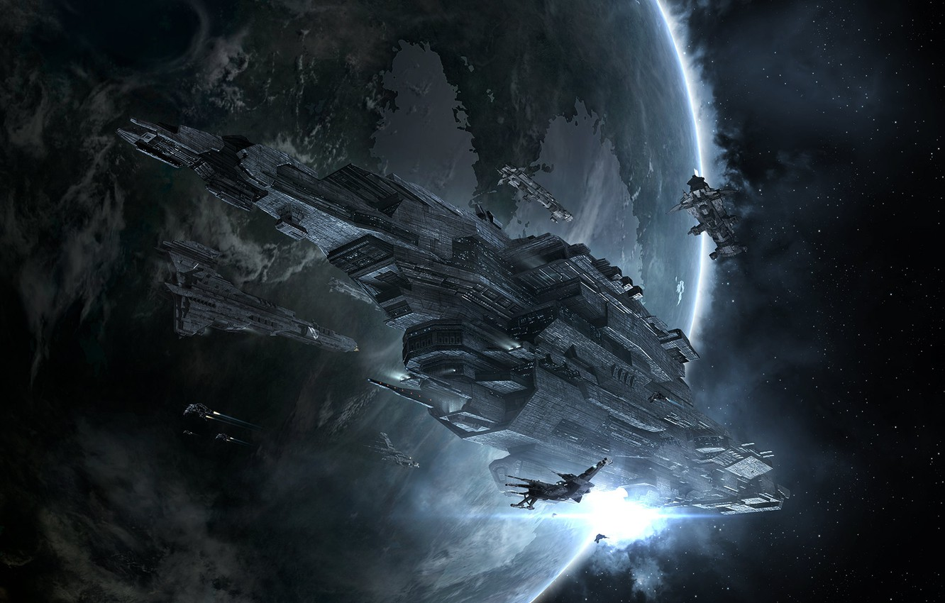 Photo wallpaper nebula, planet, Space, space, spaceship, eve online, space ship, coooper