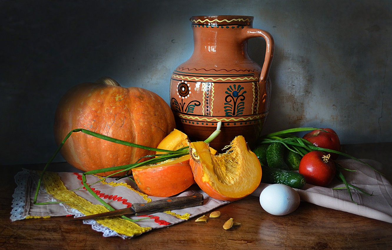 Photo wallpaper table, egg, bow, knife, dishes, pumpkin, pitcher, still life, vegetables, tomatoes