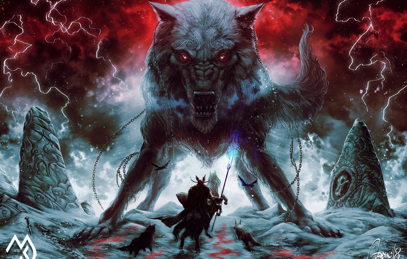 Photo wallpaper Winter, Figure, Warrior, Mouth, Wolf, Zipper, Battle, Fantasy, Mythology, Art, Fenrir, Fiction, Wolf, Illustration, Fenrir, ...