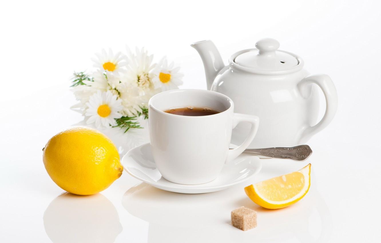 Photo wallpaper flowers, lemon, tea, kettle, Cup, sugar, still life