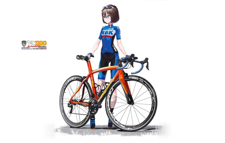Photo wallpaper Girl, White background, Bike