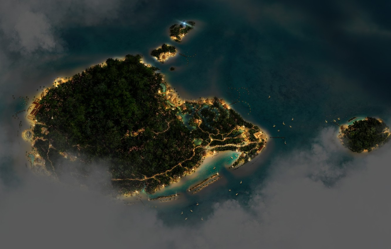 Photo wallpaper Islands, night, lights, height, Nature, Landscape, Sea, Island, Trees, CGI, digital Art