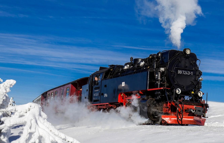 Photo wallpaper winter, snow, train, the engine, Germany