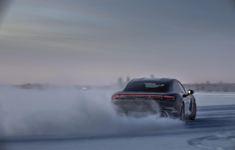 Photo wallpaper snow, black, ice, Porsche, back, track, 2020, Taycan, Taycan 4S