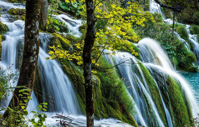 Photo wallpaper greens, waterfall, Croatia, Plitvice lakes
