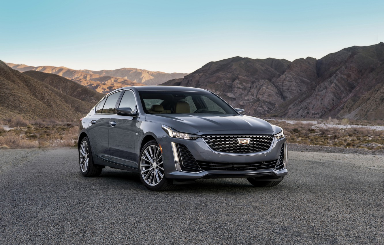 Photo wallpaper asphalt, grey, Cadillac, sedan, four-door, 2020, CT5