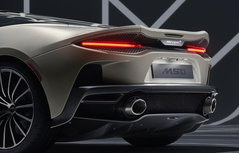Photo wallpaper lights, McLaren, supercar, rear view, MSO, 2019, McLaren GT, Defined Flux Silver
