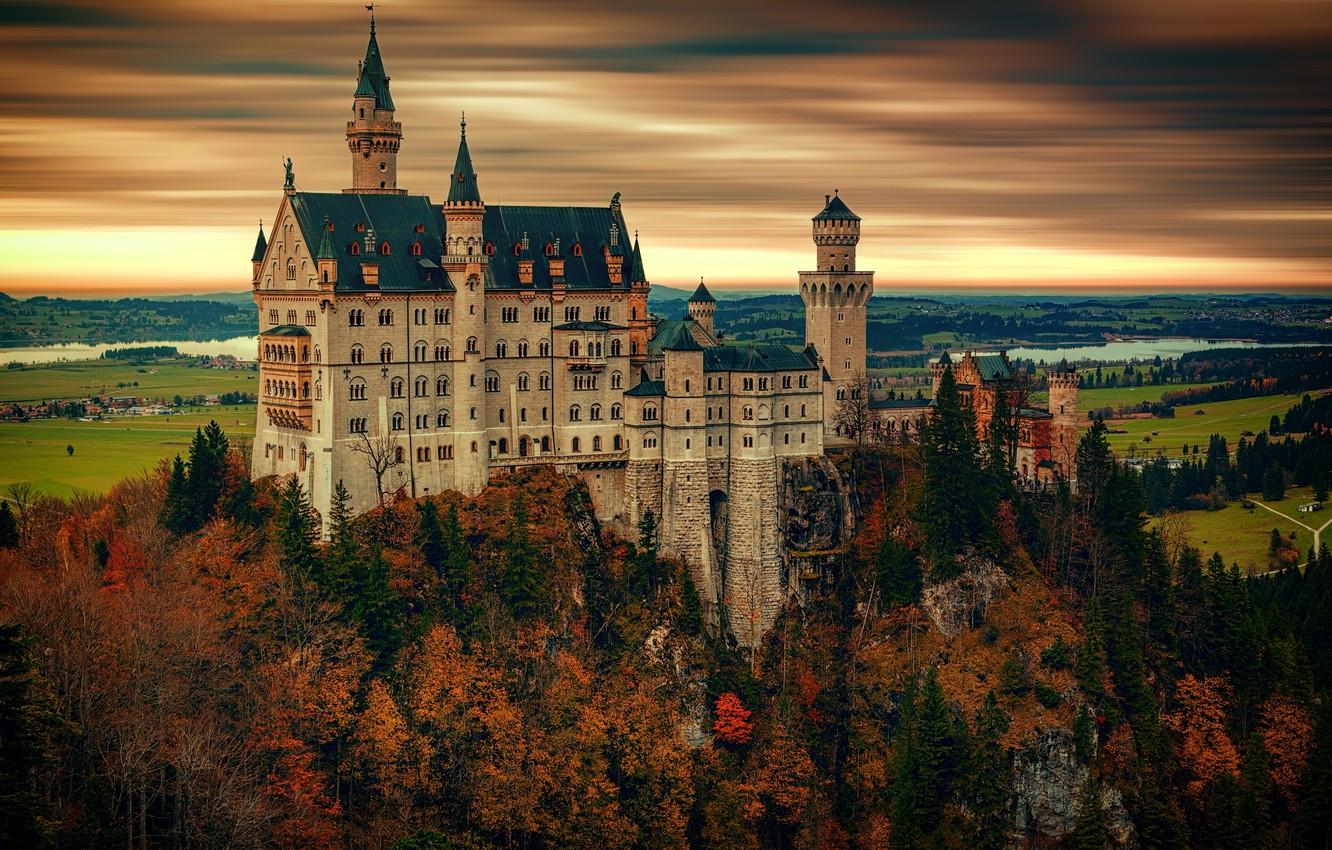 Photo wallpaper autumn, forest, the sky, clouds, trees, landscape, sunset, mountains, river, castle, overcast, rocks, height, treatment, …