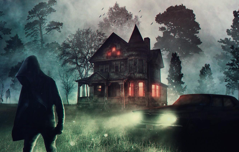 Photo wallpaper machine, forest, fog, figure, horror, abandoned house, Horror, a horror movie