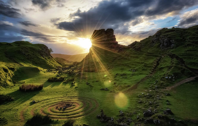 Photo wallpaper sunset, Scotland, Scotland, Isle of Skye
