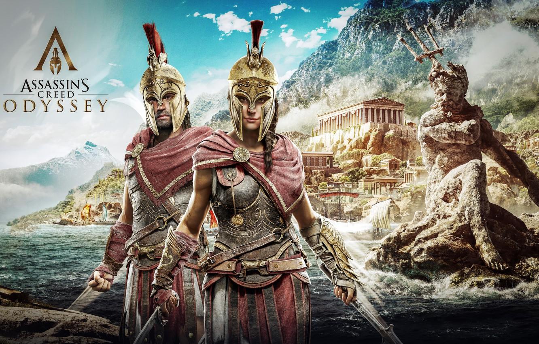Photo wallpaper game, Kassandra, Ubisoft, Assassin's Creed, Odyssey, Assassin's Creed Odyssey, Alexios