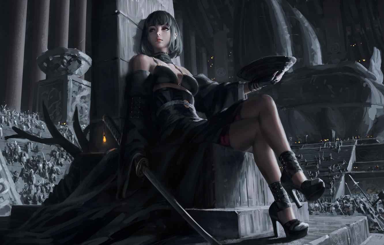 Photo wallpaper dark, girl, sword, fantasy, dress, weapon, red eyes, katana, army, samurai, digital art, artwork, concept …