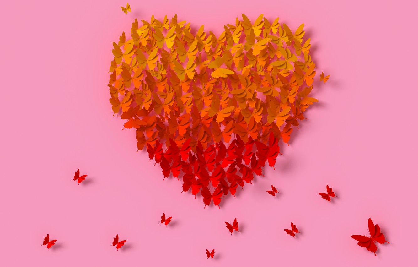 Photo wallpaper butterfly, rendering, heart, colorful, love, heart, composition, rendering, paper, butterflies, composition, floral
