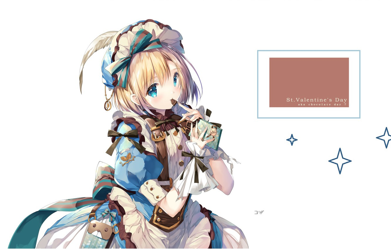 Photo wallpaper chocolate, white background, handbag, bows, blue eyes, cap, ruffles, valentine`s day, crinoline, by Shimesaba Kohada