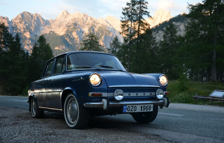 Photo wallpaper 1968, Mountains, Slovenia, Road, Skoda, Alps, Slovakia, Skoda, Czech Republic, Alps, Classic Car, Czechia, Skoda …