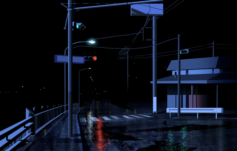 Photo wallpaper road, night, the city, lights, rain