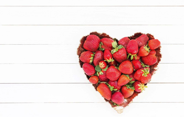 Photo wallpaper love, berries, heart, strawberry, red, love, fresh, romantic, hearts, strawberry, valentine, berries