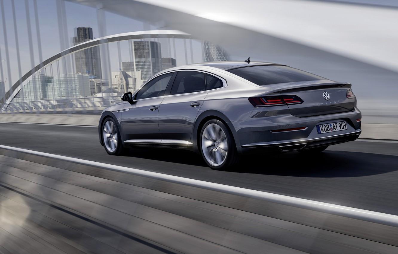 Photo wallpaper Volkswagen, rear view, 2018, Elegance, liftback, 2017, Arteon, gray-silver