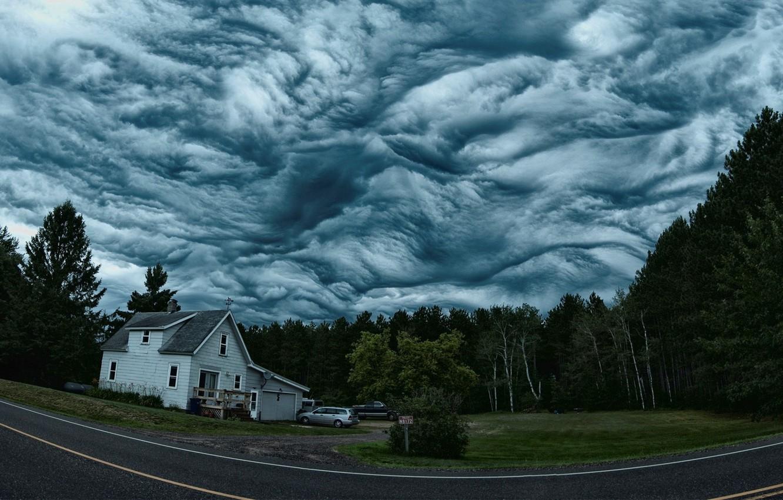 Photo wallpaper The sky, Nature, Clouds, Forest, House, Clouds, Overcast, Clouds Asperatus, Asperitas, Asperatus