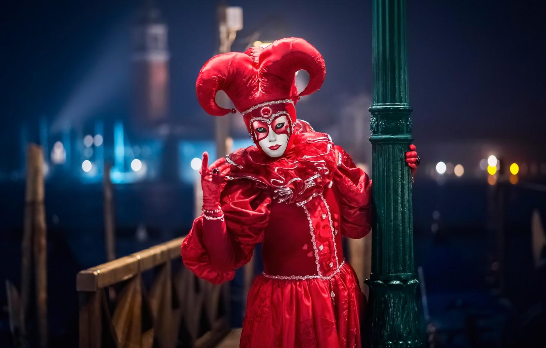 Photo wallpaper mask, Italy, costume, Venice, carnival, Harlequin