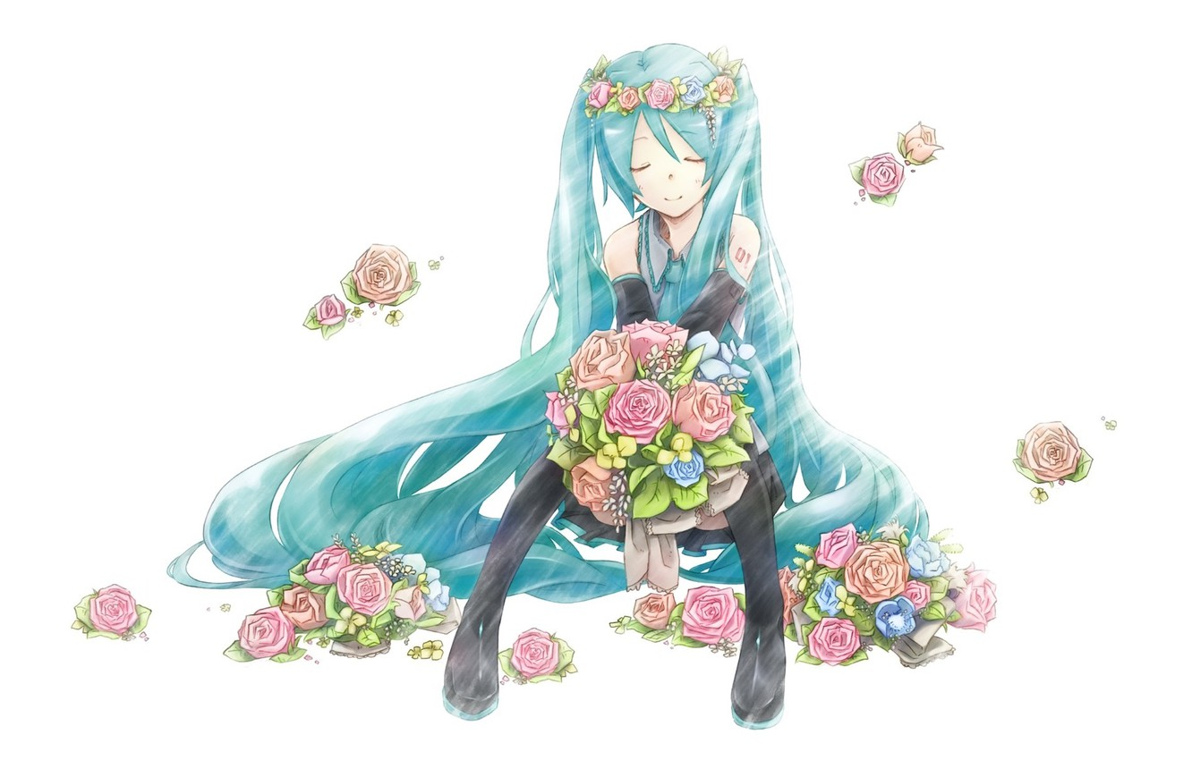 Photo wallpaper white background, vocaloid, sitting, Hatsune Miku, Vocaloid, blue hair, pink roses, closed eyes, black stockings, …