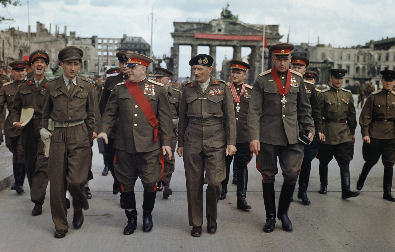 Photo wallpaper Berlin, M. S. Malinin, British field Marshal Montgomery, Sokolovsky, after the ceremony, Rokossovsky, military leaders, …