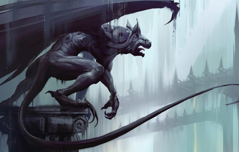 Photo wallpaper Figure, The city, Statue, Gargoyle, Building, Art, Fiction, Illustration, Steampunk, Architecture, Gothic, Creatures, Gargoyle, Thomas …