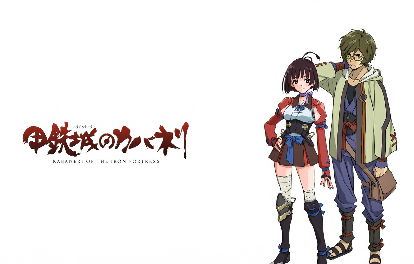 Photo wallpaper Girl, Red, Beautiful, Anime, Green, Boy, Weapon, Cute, Glasses, Pretty, Ribbon, Character, Kabaneri of the …