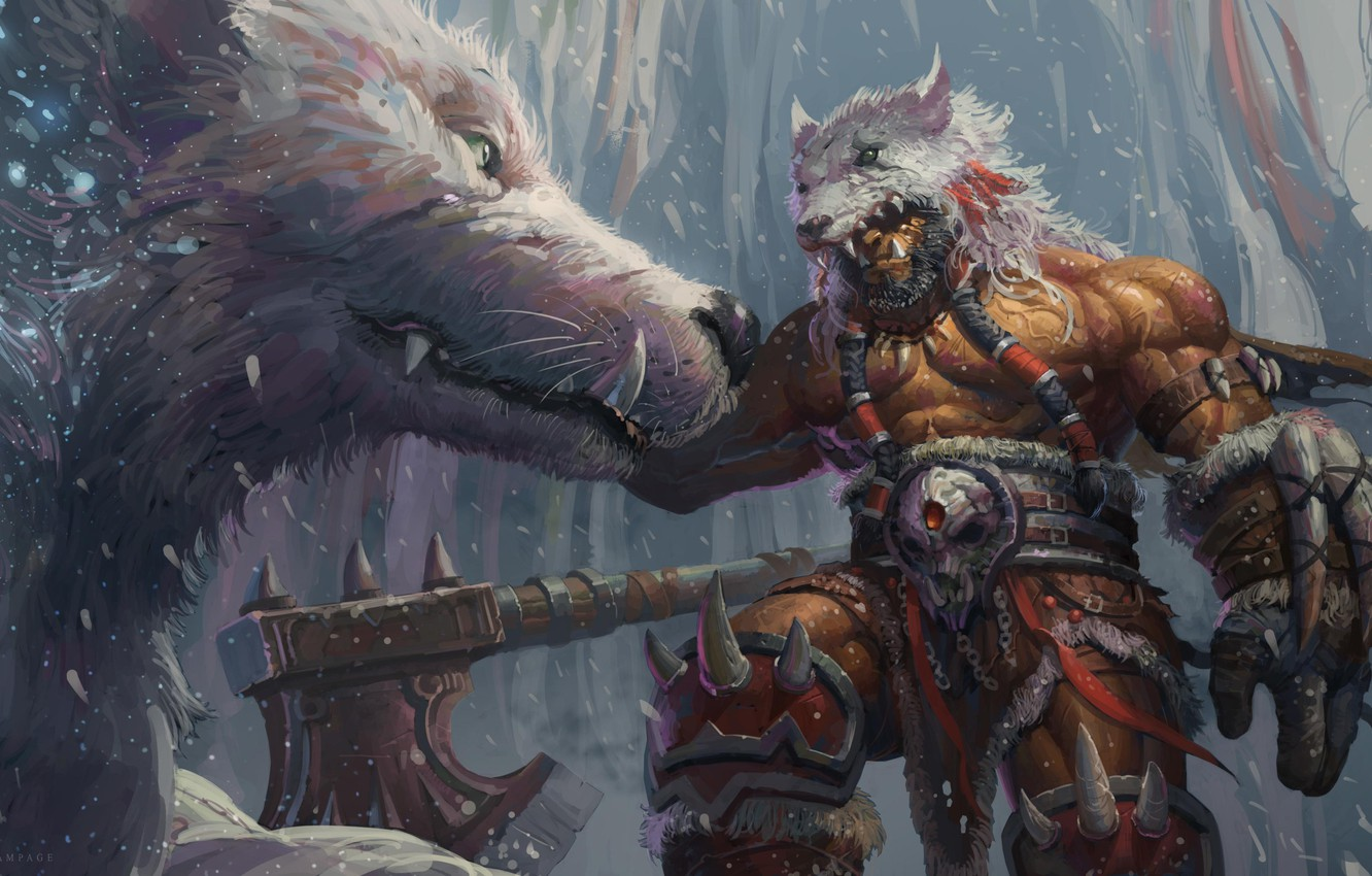 Photo wallpaper Figure, Warrior, Wolf, Blizzard, Art, Orc, WarCraft, Illustration, Characters, Horde, Durotan, Durotan, Game Art, Ord, …