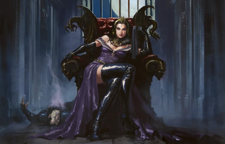 Photo wallpaper girl, MAG, necromancer, Liliana, Magic: The Gathering, сидит на троне