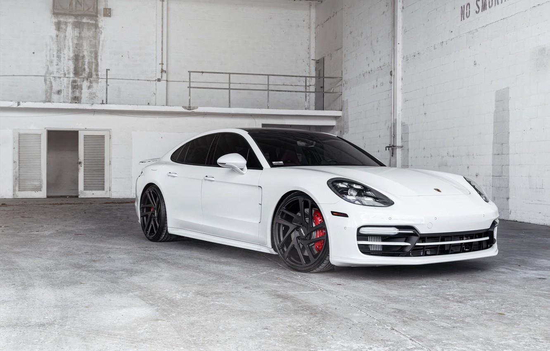 Photo wallpaper Porsche, Panamera, White, VAG, Sight