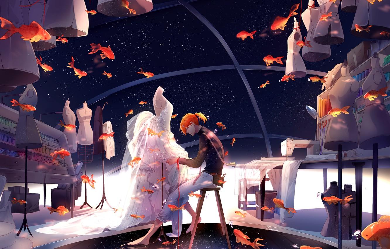 Photo wallpaper fish, goldfish, guy, mannequins, stylist, tailor