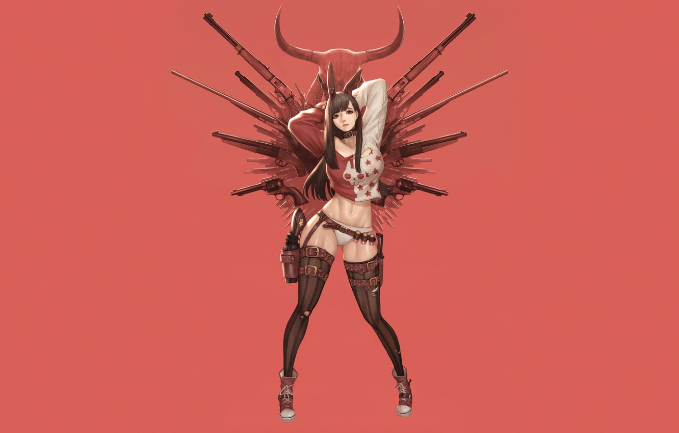 Photo wallpaper Girl, Gun, Sexy, Art, Guns, Weapon, Minimalism, Characters, Cowboy, Ren Wei Pan, Red Bunny Revolver