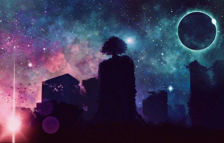 Photo wallpaper space, tree, fantasy, Eclipse, ruins, shoots