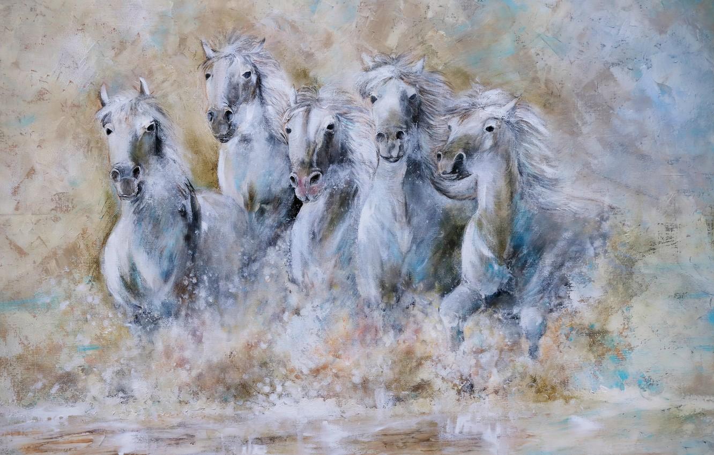 Photo wallpaper water, horses, horse, the herd