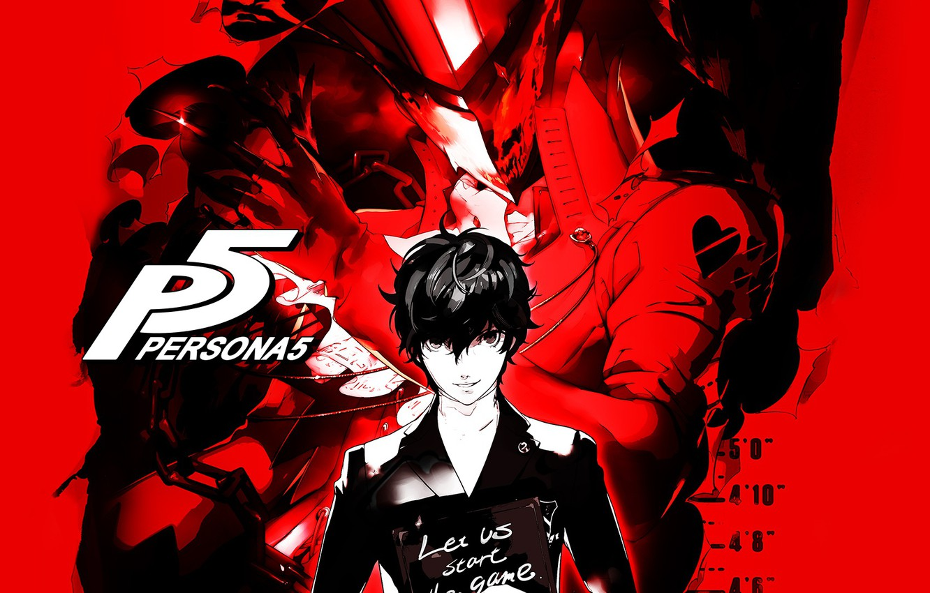 Photo wallpaper the game, anime, the demon, art, guy, red background, person, Persona