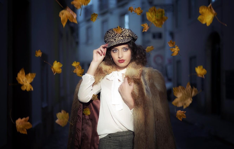 Photo wallpaper leaves, girl, portrait