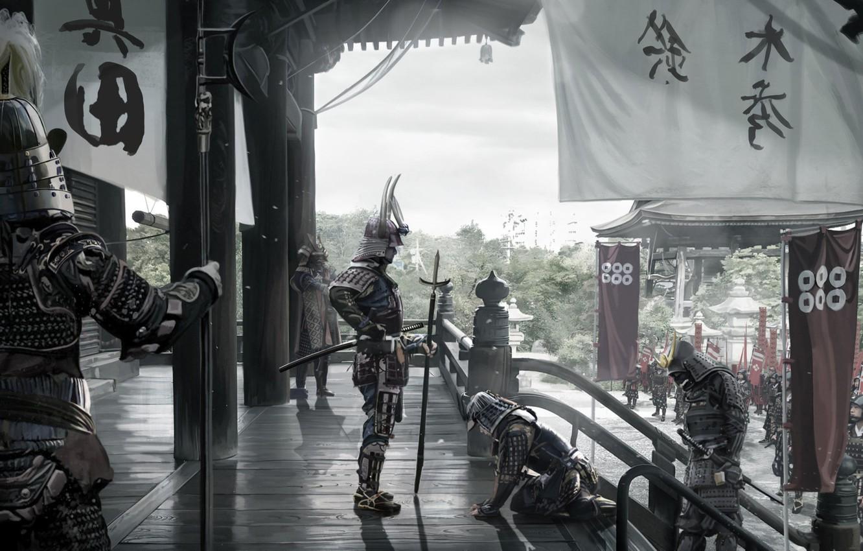 Photo wallpaper Asia, Japan, army, soldiers, warriors, banners, samurai, David Benzal, Asia Legends
