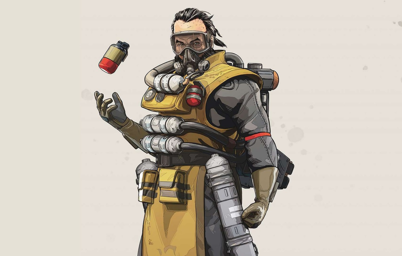 Wallpaper The Game Gas Mask Male Grey Background Character