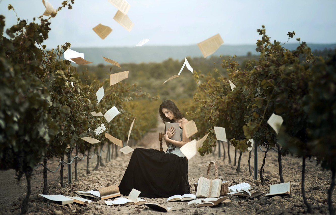 Photo wallpaper girl, books, vineyard
