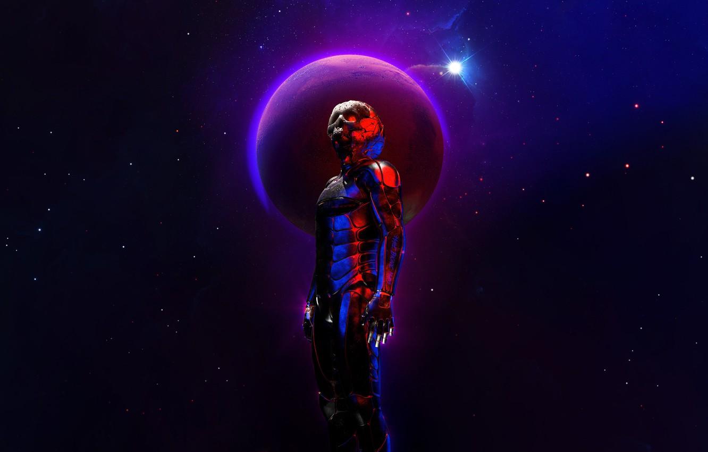 Photo wallpaper Stars, Skull, The suit, Planet, Space, Fantasy, Star, Art, Stars, Render, Planet, Concept Art, Science …