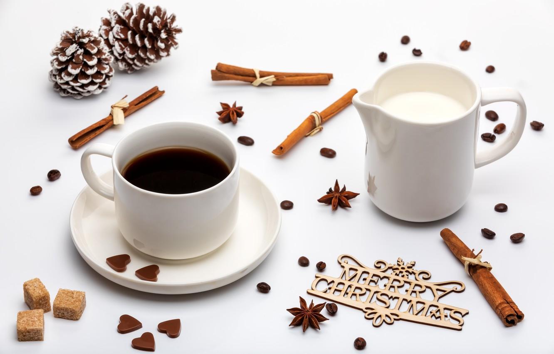 Photo wallpaper coffee, cream, Cup, cinnamon, spices
