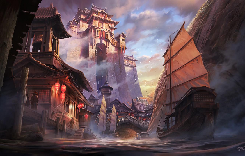 Photo wallpaper River, Palace, Castle, Ship, Style, Asia, Sails, Architecture, Style, Palace, Castle, River, Asia, Ship, Architecture, …