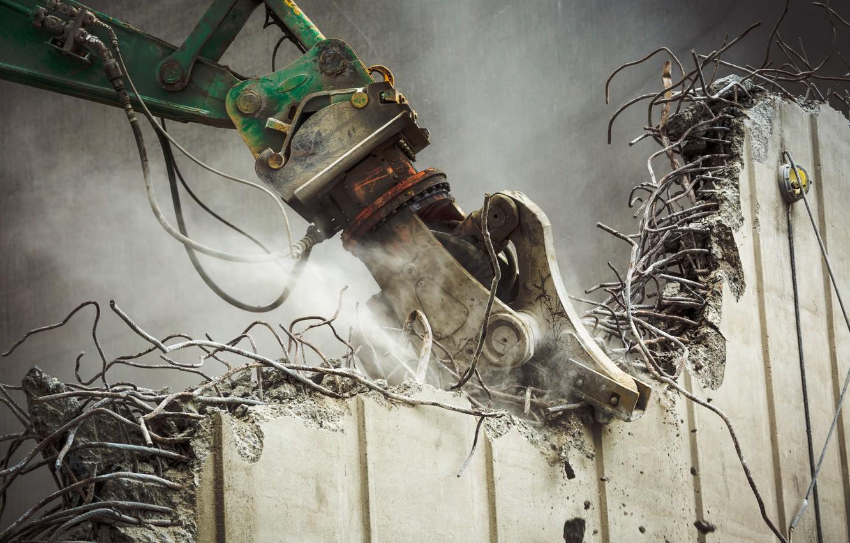 Photo wallpaper wall, machinery, destruction