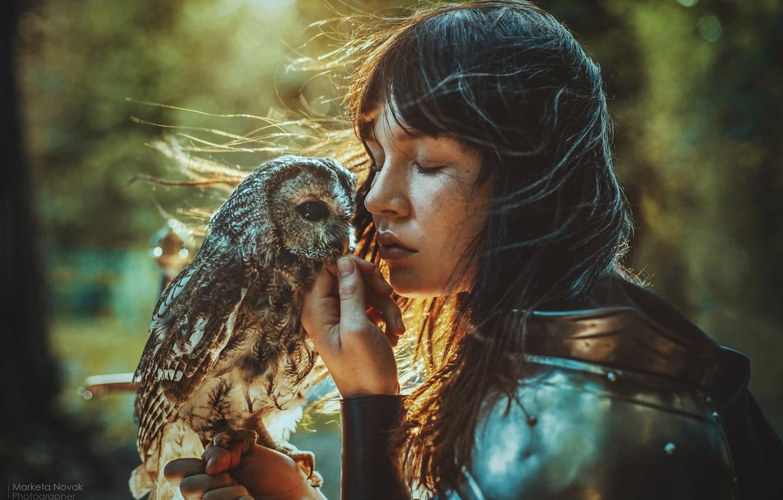 Photo wallpaper girl, face, style, mood, owl, bird, hair, warrior, armor, closed eyes, Marketa Novak, Veronika Písková