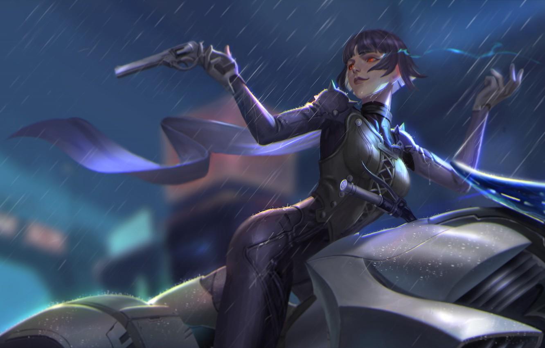 Photo wallpaper girl, gun, weapons, rain, the game, anime, art, Person 5, Persona 5