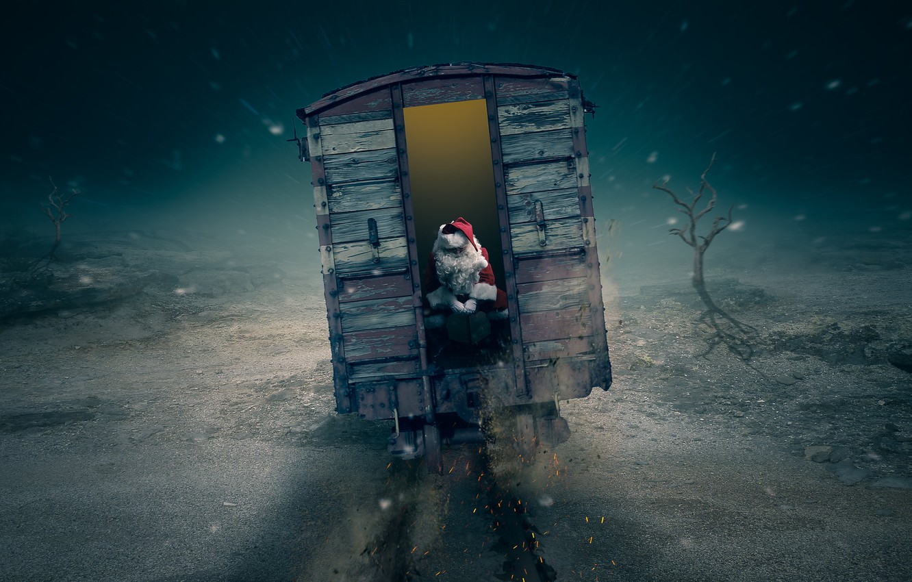 Photo wallpaper christmas, train, late, Santa is going to be late